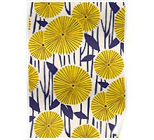 Round yellow floral pattern Poster