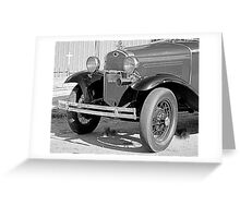 1931 Model A Ford- Front side view  b&w Greeting Card