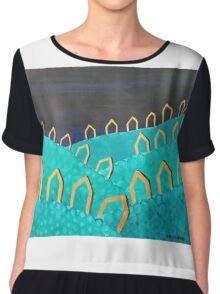Village at Night by Margo Humphries Chiffon Top