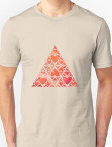 Red Heart Sierpinski Triangle Unisex T-Shirt