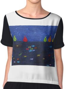 Sea Scene: Rainbow Fish and Boats Chiffon Top