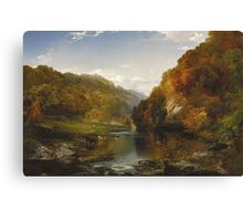Thomas Moran - Autumn Afternoon, The Wissahickon. Forest view: forest , trees,  fauna, nature, birds, animals, flora, flowers, plants, field, weekend Canvas Print