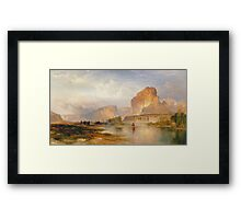 Thomas Moran - Cliffs Of Green River. Mountains landscape: mountains, rocks, rocky nature, sky and clouds, trees, peak, forest, Canyon, hill, travel, hillside Framed Print