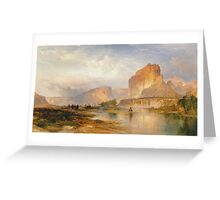 Thomas Moran - Cliffs Of Green River. Mountains landscape: mountains, rocks, rocky nature, sky and clouds, trees, peak, forest, Canyon, hill, travel, hillside Greeting Card