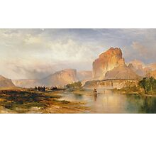 Thomas Moran - Cliffs Of Green River. Mountains landscape: mountains, rocks, rocky nature, sky and clouds, trees, peak, forest, Canyon, hill, travel, hillside Photographic Print