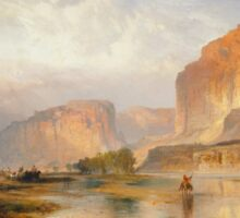 Thomas Moran - Cliffs Of Green River. Mountains landscape: mountains, rocks, rocky nature, sky and clouds, trees, peak, forest, Canyon, hill, travel, hillside Sticker