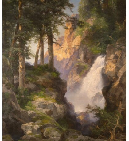 Thomas Moran - Falls At Toltec Gorge. Mountains landscape: mountains, rocks, rocky nature, sky and clouds, trees, peak, forest, Canyon, hill, travel, hillside Sticker