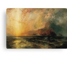 Thomas Moran - Fiercely The Red Sun Descending Burned His Way Along The Heavens. Sea landscape:  yachts view, holiday, sailing boat, coast seaside, waves beach, seascape, sun clouds, nautical, ocean Canvas Print