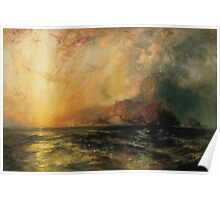 Thomas Moran - Fiercely The Red Sun Descending Burned His Way Along The Heavens. Sea landscape:  yachts view, holiday, sailing boat, coast seaside, waves beach, seascape, sun clouds, nautical, ocean Poster