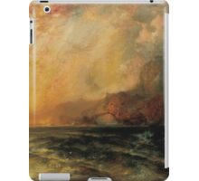 Thomas Moran - Fiercely The Red Sun Descending Burned His Way Along The Heavens. Sea landscape:  yachts view, holiday, sailing boat, coast seaside, waves beach, seascape, sun clouds, nautical, ocean iPad Case/Skin