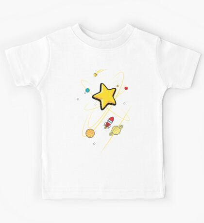 Star, planets and a red rocket Kids Tee