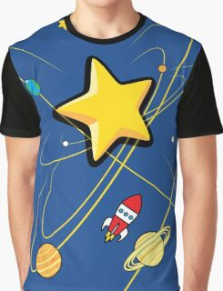 Star, planets and a red rocket Graphic T-Shirt