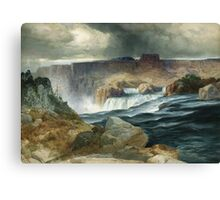 Thomas Moran - Shoshone Falls, Snake River, Idaho. Mountains landscape: mountains, rocks, rocky nature, sky and clouds, trees, peak, forest, rustic, hill, travel, hillside Canvas Print
