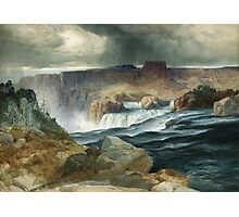 Thomas Moran - Shoshone Falls, Snake River, Idaho. Mountains landscape: mountains, rocks, rocky nature, sky and clouds, trees, peak, forest, rustic, hill, travel, hillside Photographic Print