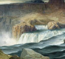 Thomas Moran - Shoshone Falls, Snake River, Idaho. Mountains landscape: mountains, rocks, rocky nature, sky and clouds, trees, peak, forest, rustic, hill, travel, hillside Sticker