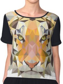Tiger in Blurry and Digital Design Chiffon Top