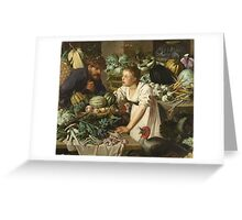 Pieter Cornelis  Van Rijck - Market stall with two figures. Still Life: Market, Woman, man, food,  vegetables, vegetable, fruits, cooking, kitchen,  feast Greeting Card