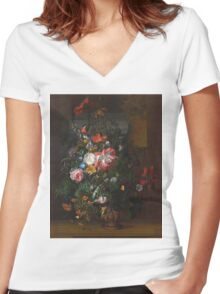 Rachel Ruysch - Roses, Convolvulus, Poppies, And Other Flowers In An Urn On A Stone Ledge. Still life with flowers:  bouquet, bumblebee , carnations, peonies, tulips,  marigolds,  garden, blossom Women's Fitted V-Neck T-Shirt