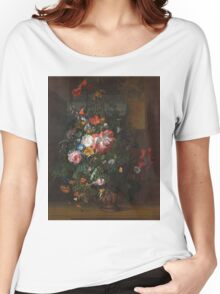 Rachel Ruysch - Roses, Convolvulus, Poppies, And Other Flowers In An Urn On A Stone Ledge. Still life with flowers:  bouquet, bumblebee , carnations, peonies, tulips,  marigolds,  garden, blossom Women's Relaxed Fit T-Shirt