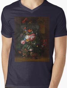 Rachel Ruysch - Roses, Convolvulus, Poppies, And Other Flowers In An Urn On A Stone Ledge. Still life with flowers:  bouquet, bumblebee , carnations, peonies, tulips,  marigolds,  garden, blossom Mens V-Neck T-Shirt