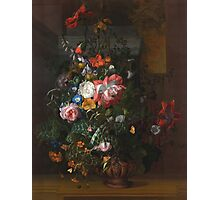 Rachel Ruysch - Roses, Convolvulus, Poppies, And Other Flowers In An Urn On A Stone Ledge. Still life with flowers:  bouquet, bumblebee , carnations, peonies, tulips,  marigolds,  garden, blossom Photographic Print