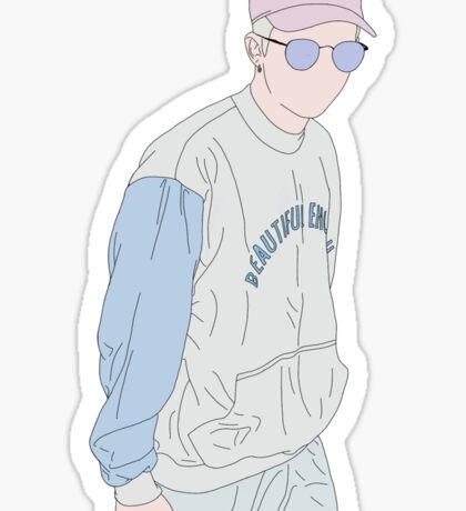 BTS Rap Monster Fashion Lineart #1 Sticker