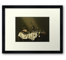 Willem Claesz Heda - Banquet Piece With Ham . Still life with fruits and vegetables: fruit, Lemon , glass of wine, tasty, gastronomy food, flowers, dish, cooking, kitchen, vase Framed Print