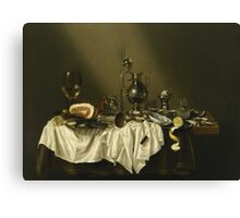 Willem Claesz Heda - Banquet Piece With Ham . Still life with fruits and vegetables: fruit, Lemon , glass of wine, tasty, gastronomy food, flowers, dish, cooking, kitchen, vase Canvas Print