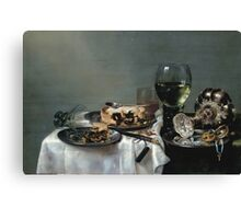 Willem Claesz Heda - Breakfast Table With Blackberry Pie 1631 . Still life with fruits and vegetables: Breakfast,  Table ,  Blackberry, tasty,  Pie , flowers, dish, cooking, kitchen, vase Canvas Print
