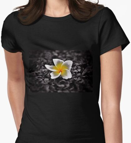 White Plumeria Frangipani Hawaii Flower Womens Fitted T-Shirt