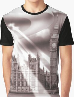 UFO Over London (Sepia) Graphic T-Shirt
