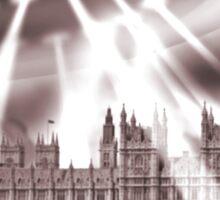 UFO Over London (Sepia) Sticker