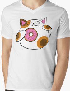 Donut Lucky cat Mens V-Neck T-Shirt