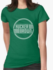 Hucker Brown - retro blue logo Womens Fitted T-Shirt