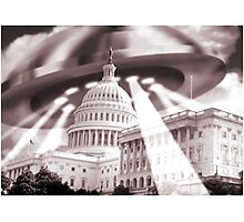 UFO Over Capital (Sepia) Photographic Print