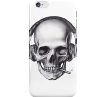 Smoking with Headphones Skull  iPhone Case/Skin