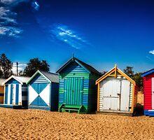 Brighton Beach huts pano by mellosphoto