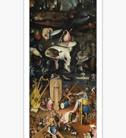Hieronymus Bosch - The Garden Of Earthly Delights Art Fragment Painting: eden, hell, beauty, adam, retro animals, birds, cool love, trendy gift, celebration, vintage monster, doodle, birthday, fantasy Sticker
