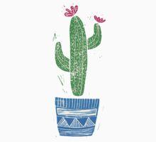 Linocut Cacti #2 + pot One Piece - Short Sleeve