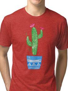 Linocut Cacti #2 + pot Tri-blend T-Shirt