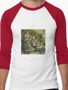 Hieronymus Bosch - The Garden Of Earthly Delights Art Fragment Painting: eden, hell, beauty, adam, retro animals, birds, cool love, trendy gift, celebration, vintage monster, doodle, birthday, fantasy Men's Baseball ¾ T-Shirt