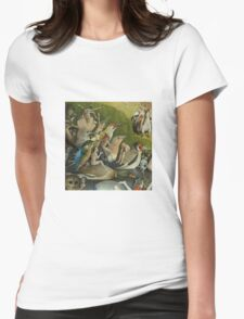 Hieronymus Bosch - The Garden Of Earthly Delights Art Fragment Painting: eden, hell, beauty, adam, retro animals, birds, cool love, trendy gift, celebration, vintage monster, doodle, birthday, fantasy Womens Fitted T-Shirt