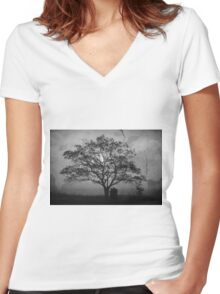 Landscape On Adobe Wall BW Women's Fitted V-Neck T-Shirt