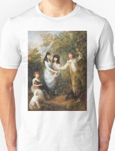 Thomas Gainsborough - The Marsham Children 1787. Children portrait: Children, cute girls, child, nature, beautiful dress, face with hairs, smile, little, kids, dogs, weekend Unisex T-Shirt