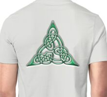 CELTS, Celtic knot, Triangle, Lindisfarne Gospels, green with doubled threads.  Unisex T-Shirt
