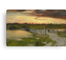 Thomas Moran - The Old Bridge Over Hook Pond, East Hampton, Long Island 1907. Country landscape: village view, country, buildings, house, rustic, farm, field, countryside road, trees, garden, flowers Canvas Print