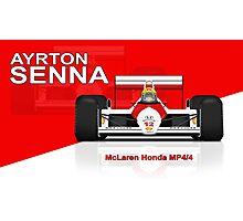 Ayrton Senna - McLaren MP4/4 - Red Background Photographic Print