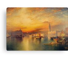 Thomas Moran - View Of Venice 1895. Urban landscape: city view, streets, building, house, Venice , cityscape, architecture, construction, travel landmarks, panorama garden, buildings Canvas Print