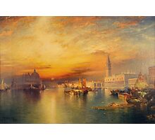 Thomas Moran - View Of Venice 1895. Urban landscape: city view, streets, building, house, Venice , cityscape, architecture, construction, travel landmarks, panorama garden, buildings Photographic Print