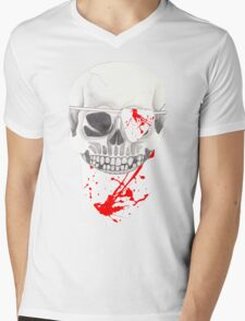 Skull with Blood Spattered Bandanna and Eye Patch Mens V-Neck T-Shirt